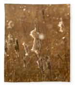 Cattails In Snowstorm 3 Fleece Blanket