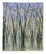 Cattails In The Lake Fleece Blanket