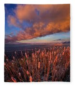 Cattails In The Wind Fleece Blanket
