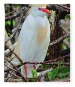Rainbow Bill Cattle Egret Fleece Blanket