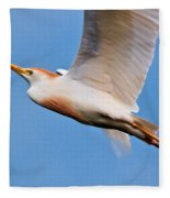 Cattle Egret On The Wing Fleece Blanket