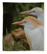 Cattle Egrets Dry Brushed Fleece Blanket