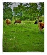 Cattle Grazing In A Lush Pasture Fleece Blanket