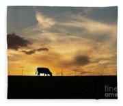 Cattle Sunset Silhouette Fleece Blanket