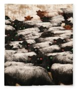 Cattle With Snow On Their Backs Fleece Blanket
