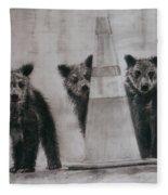 Caution Bears Fleece Blanket