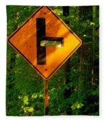 Caution T Junction Road Sign Fleece Blanket