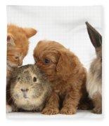 Cavapoo Pup, Rabbit, Guinea Pig Fleece Blanket