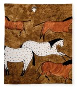 Cave Horses Fleece Blanket