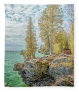 Cave Point Bluffs 2 Fleece Blanket
