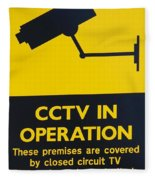Cctv Warning Sign Fleece Blanket