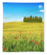 Cedar Grove And Poppies Fleece Blanket
