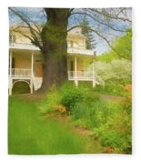 Cedar Grove In Spring Fleece Blanket by Nancy De Flon