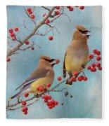Cedar Waxwing Pair Fleece Blanket