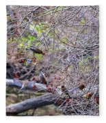 Cedar Waxwings Feeding 2 Fleece Blanket