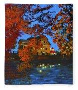 Cedarburg Mill At Night Fleece Blanket