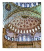 Ceiling Of Blue Mosque Fleece Blanket