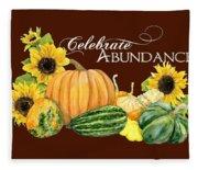 Celebrate Abundance - Harvest Fall Pumpkins Squash N Sunflowers Fleece Blanket