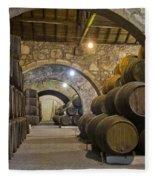 Cellar With Wine Barrels Fleece Blanket