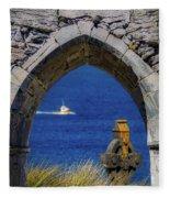 Celtic Cross And Fishing Vessel From Isle Of Inisheer Fleece Blanket by James Truett