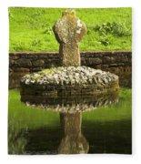 Ancient Celtic Cross At St Patrick Well Fleece Blanket