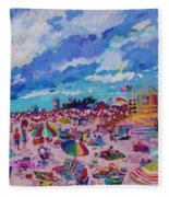 Center Panel Of Triptych Busy Relaxing Fleece Blanket