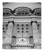 Central Library Milwaukee Interior Bw Fleece Blanket