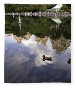 Central Park Pond With Two Ducks Fleece Blanket