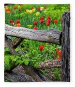 Central Park Shakespeare Garden New York City Ny Wooden Fence Fleece Blanket