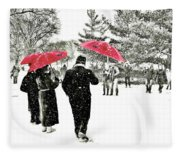 Central Park Snow And Red Umbrellas Fleece Blanket