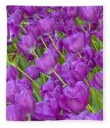 Central Park Spring-purple Tulips Fleece Blanket