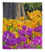 Central Park Tulip Display Fleece Blanket