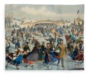 Central Park, Winter The Skating Pond, 1862 Fleece Blanket