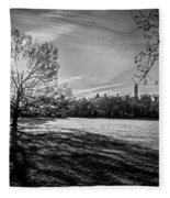 Central Park's Sheep Meadow - Bw Fleece Blanket