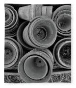 Ceramic Pots Bw Fleece Blanket