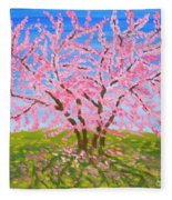 Cercis Tree, Oil Painting Fleece Blanket