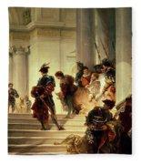 Cesare Borgia Leaving The Vatican Fleece Blanket