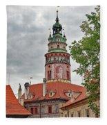 Cesky Krumlov Castle Tower In Cesky Krumlov Of The Czech Republic Fleece Blanket