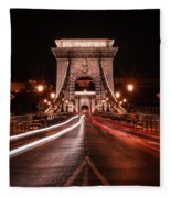 Chain Bridge At Midnight Fleece Blanket