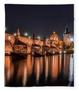 Chains Bridge In Prague Fleece Blanket
