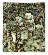 Chairs In Backyard Fleece Blanket