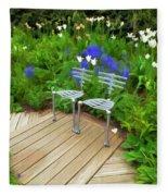 Chairs In The Garden Fleece Blanket