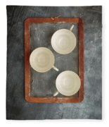 Challkboard Tea Cups Fleece Blanket