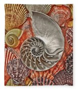 Chambered Nautilus Shell Abstract Fleece Blanket