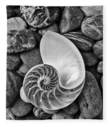 Chambered Nautilus Shell  On River Stones Fleece Blanket