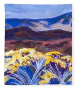 Chamisa And Mountains Of Santa Fe Fleece Blanket