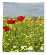 Chamomile And Poppy Flowers Meadow Fleece Blanket