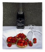 Champagne Bottle With Strawberry Tarts And 2 Glasses Fleece Blanket