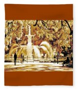 Champagne Twilight Forsyth Park Fountain In Savannah Georgia Usa  Fleece Blanket