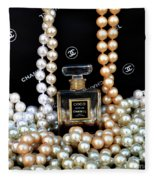 Chanel Coco With Pearls Fleece Blanket